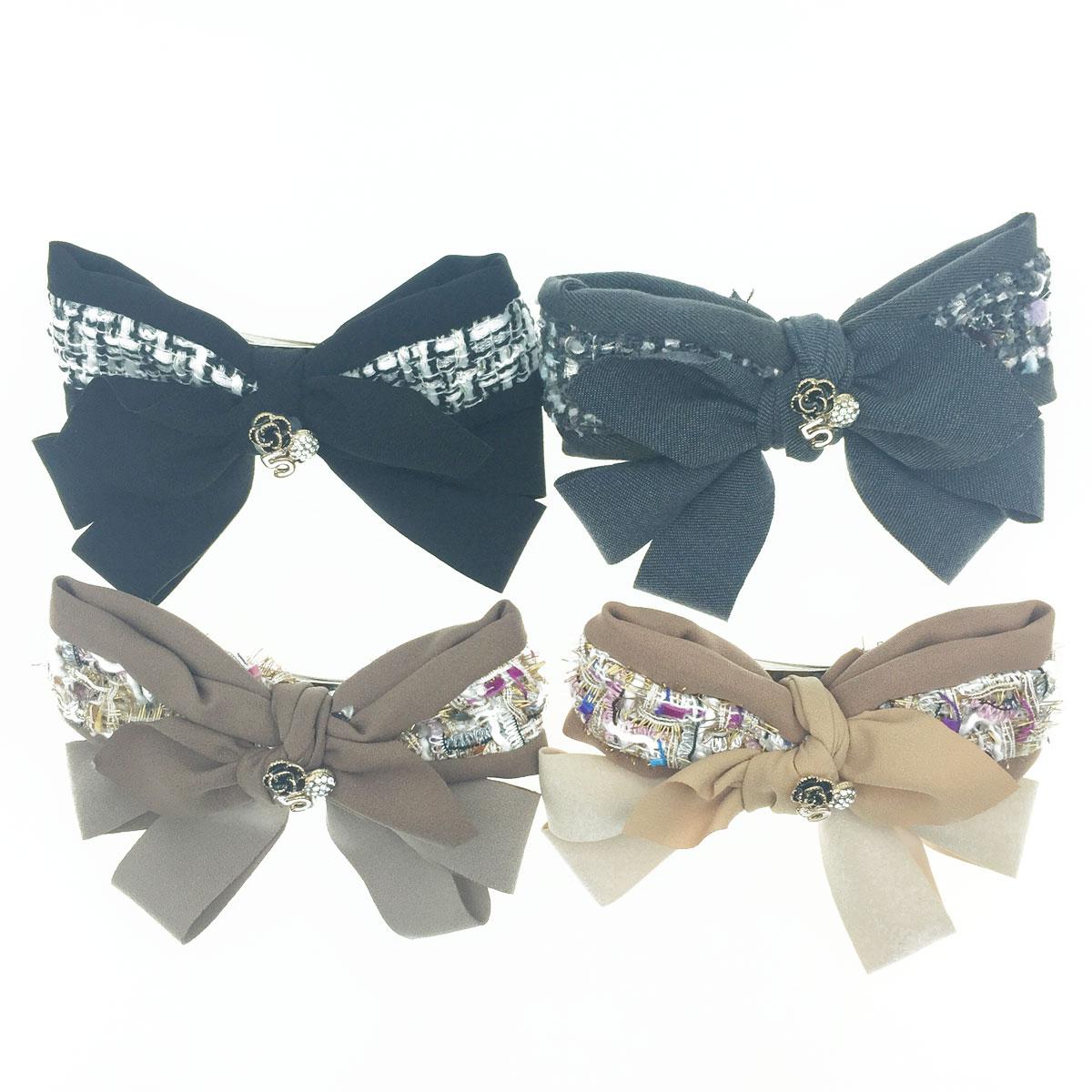 韓國 小香風 蝴蝶結 山茶花 球鑽 數字5 彩色編織 3色 髮飾 自動夾
