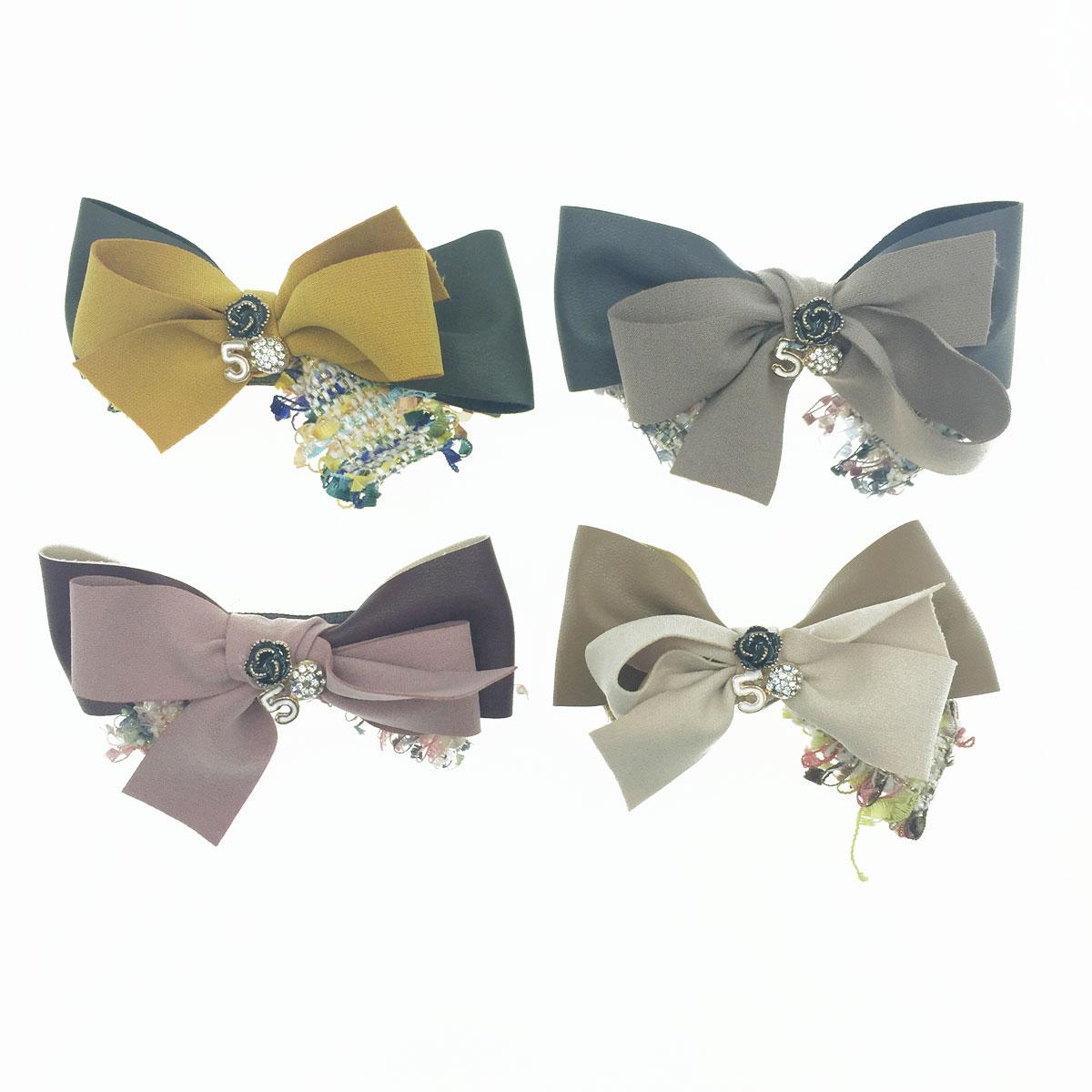 韓國 小香風 皮質 蝴蝶結 山茶花 球鑽 數字5 彩色編織 3色 髮飾 自動夾