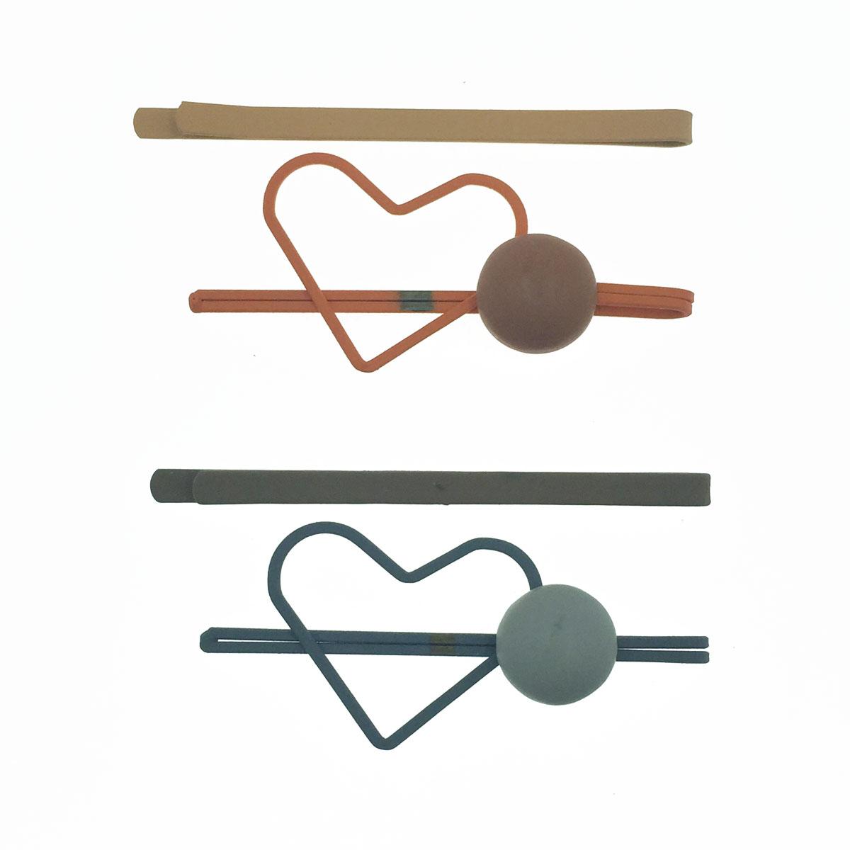 韓國 簍空愛心 半圓 雙色 霧面 2入 2色 可愛 髮夾 線夾