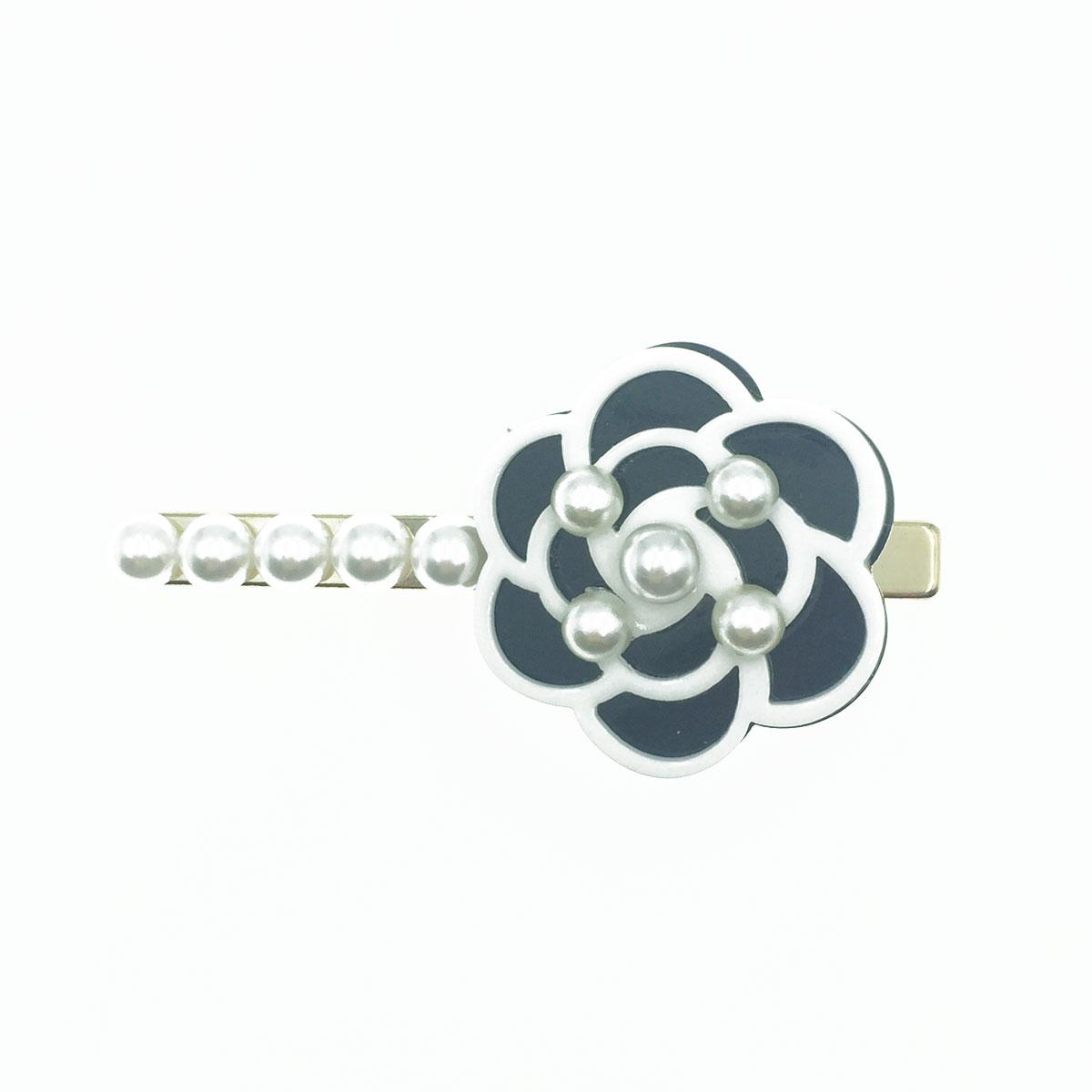 韓國 小香風 山茶花 珍珠 髮夾 氣質感壓夾