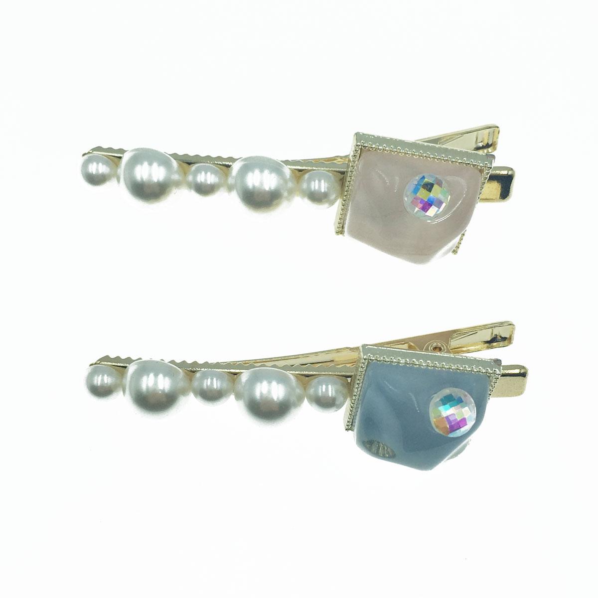 韓國 不規則方形珠珠 金邊 鑽 珍珠 髮夾 氣質感壓夾