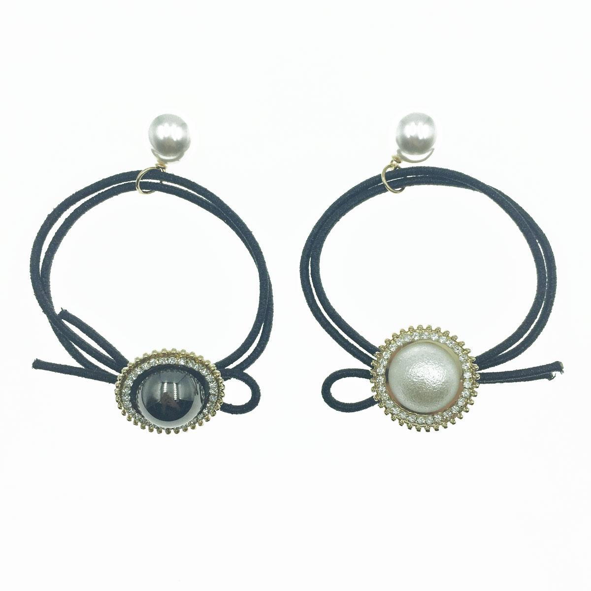 韓國 半圓形 水鑽金花邊 珍珠 華麗風 髮飾 髮圈 髮束