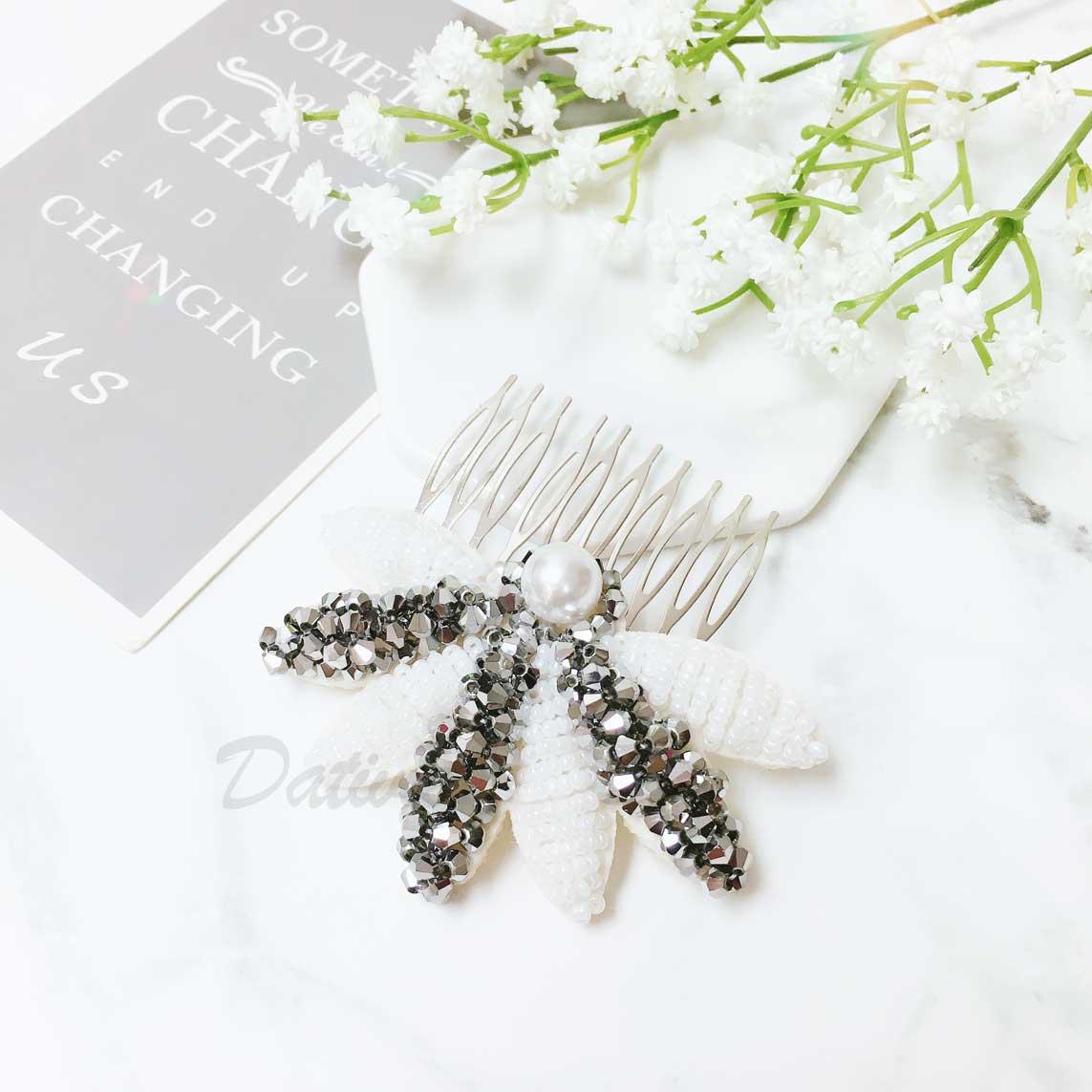 大麻葉造型 雙色串珠 珍珠 華麗 髮飾 髮插