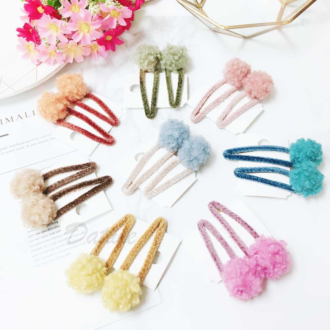 素色 毛球 QQ毛 簡約 可愛 髮飾 壓夾