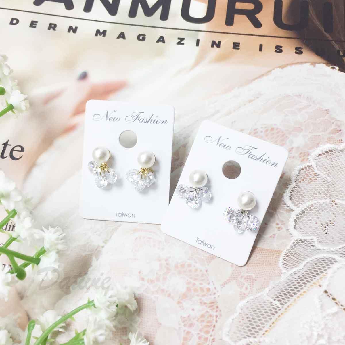 珍珠 水鑽 甜美氣質款 優雅風 2色 垂墜感 耳針式耳環