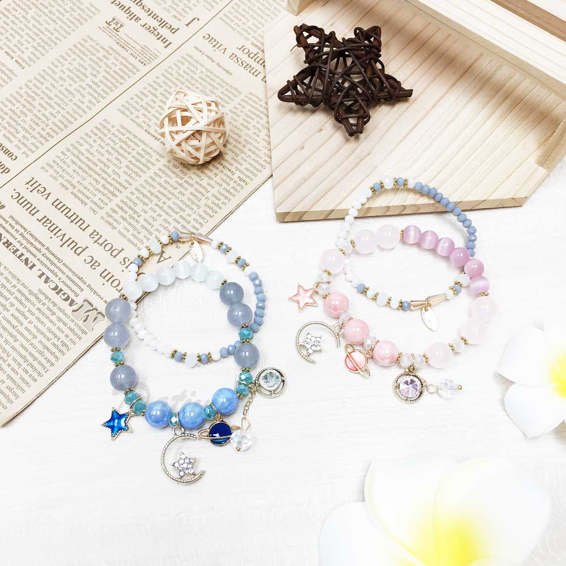 月亮 星星 星球 珠珠 鑽 3色 2入 手環 手飾 串珠 垂墜手鍊