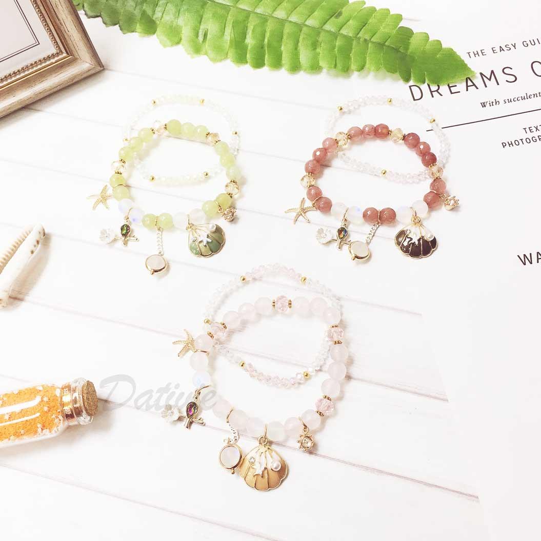 貝殼 海星 花朵 鑽 3色 2入 手環 手飾 串珠 垂墜手鍊