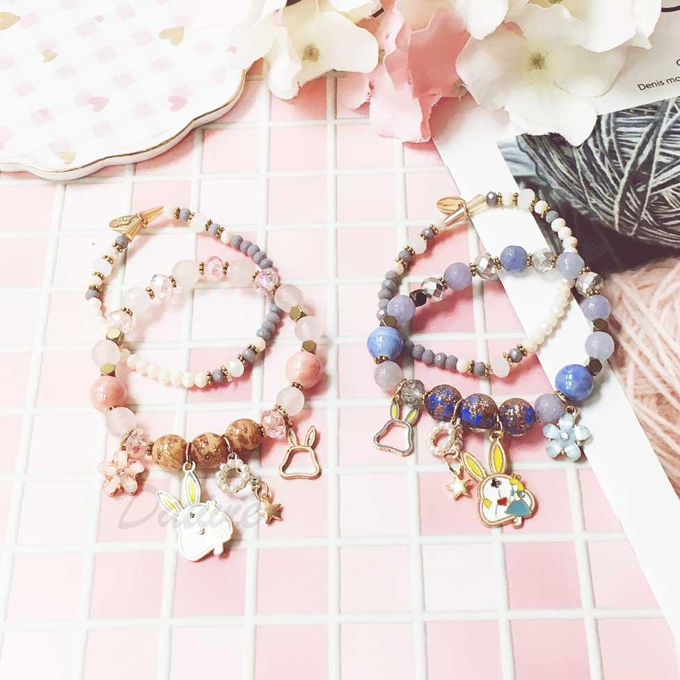 愛麗絲 兔兔 時鐘 珍珠圈 星星 花朵 童話風 2色 2入 手環 手飾 串珠 垂墜手鍊