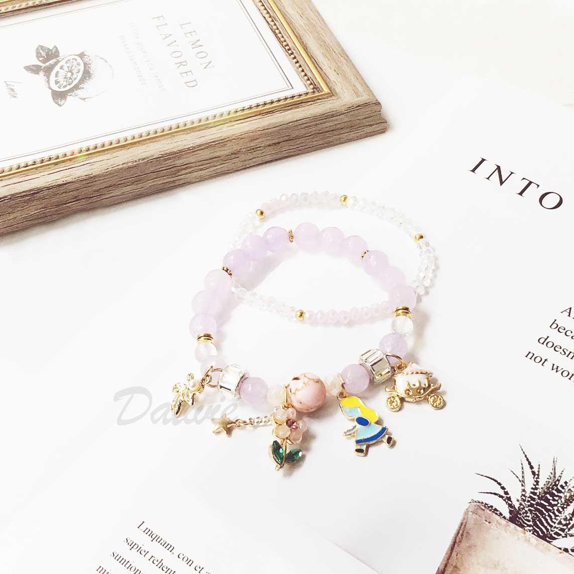 公主 馬車 葉子 玫瑰花 珍珠 2入 手環 手飾 串珠 垂墜手鍊