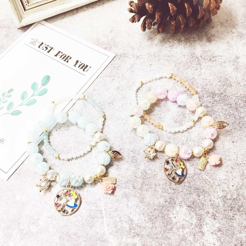 愛麗絲 時鐘 葉子 玫瑰花 鑽 2色 2入 手環 手飾 串珠 垂墜手鍊