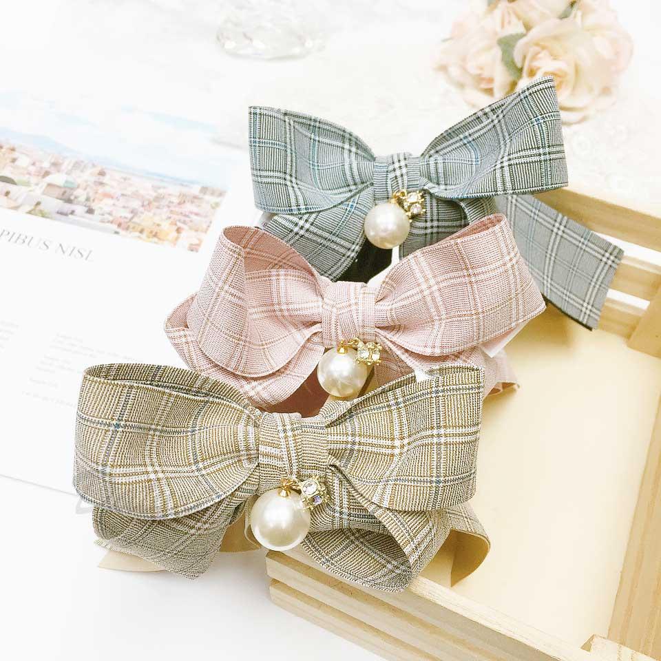 水鑽 珍珠 雙蝴蝶結 撞色 3色 髮飾 相交夾