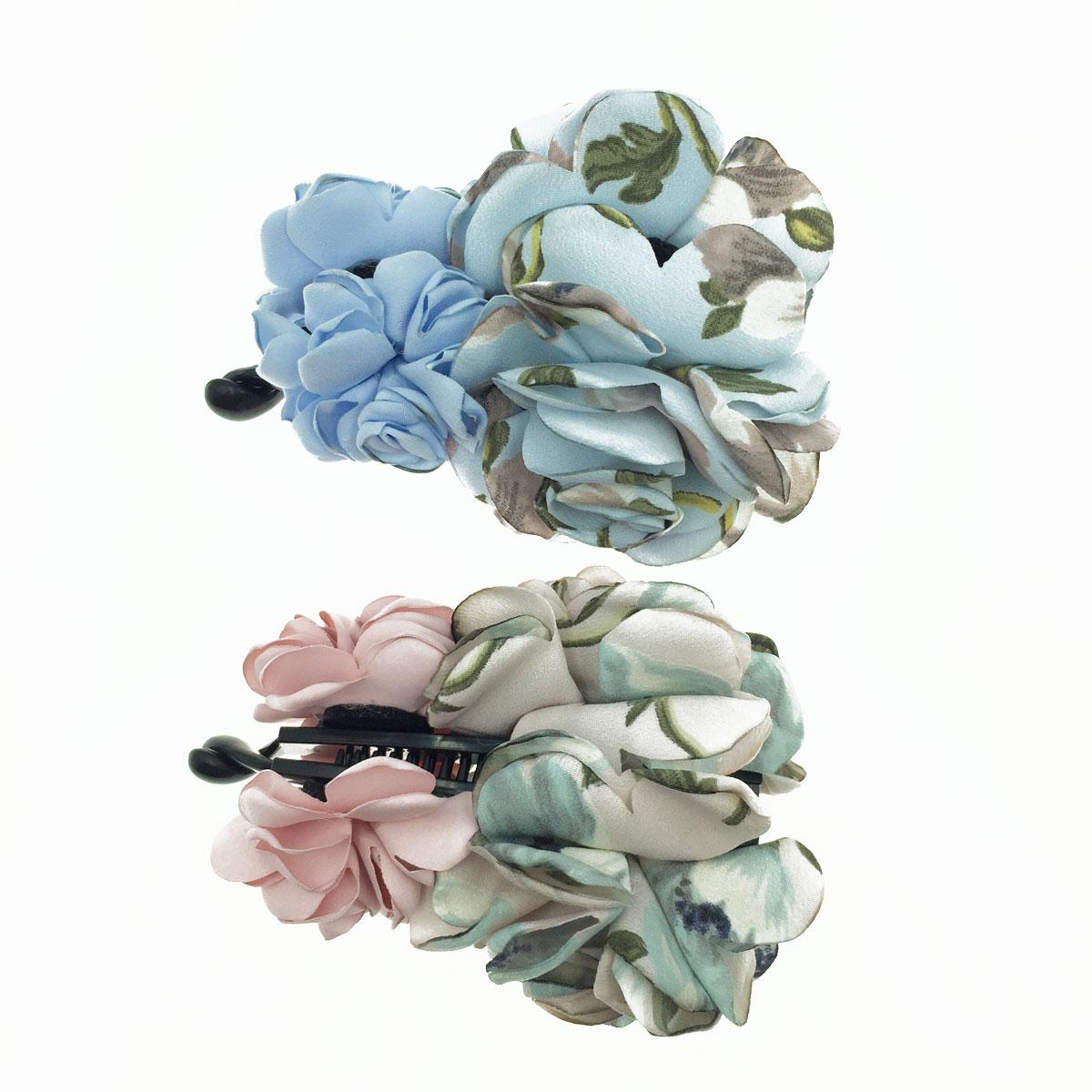 韓國 雙花朵 紋路 素色 撞色 2色 髮飾 相交夾
