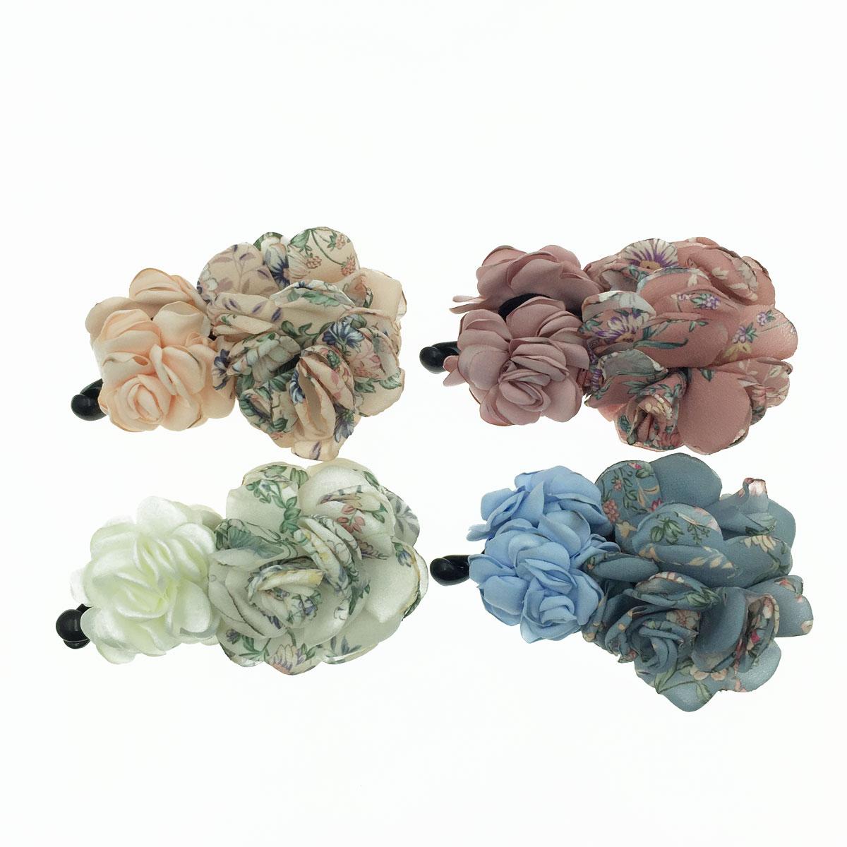 韓國 雙花朵 紋路 素色 撞色 4色 氣質風 髮飾 相交夾