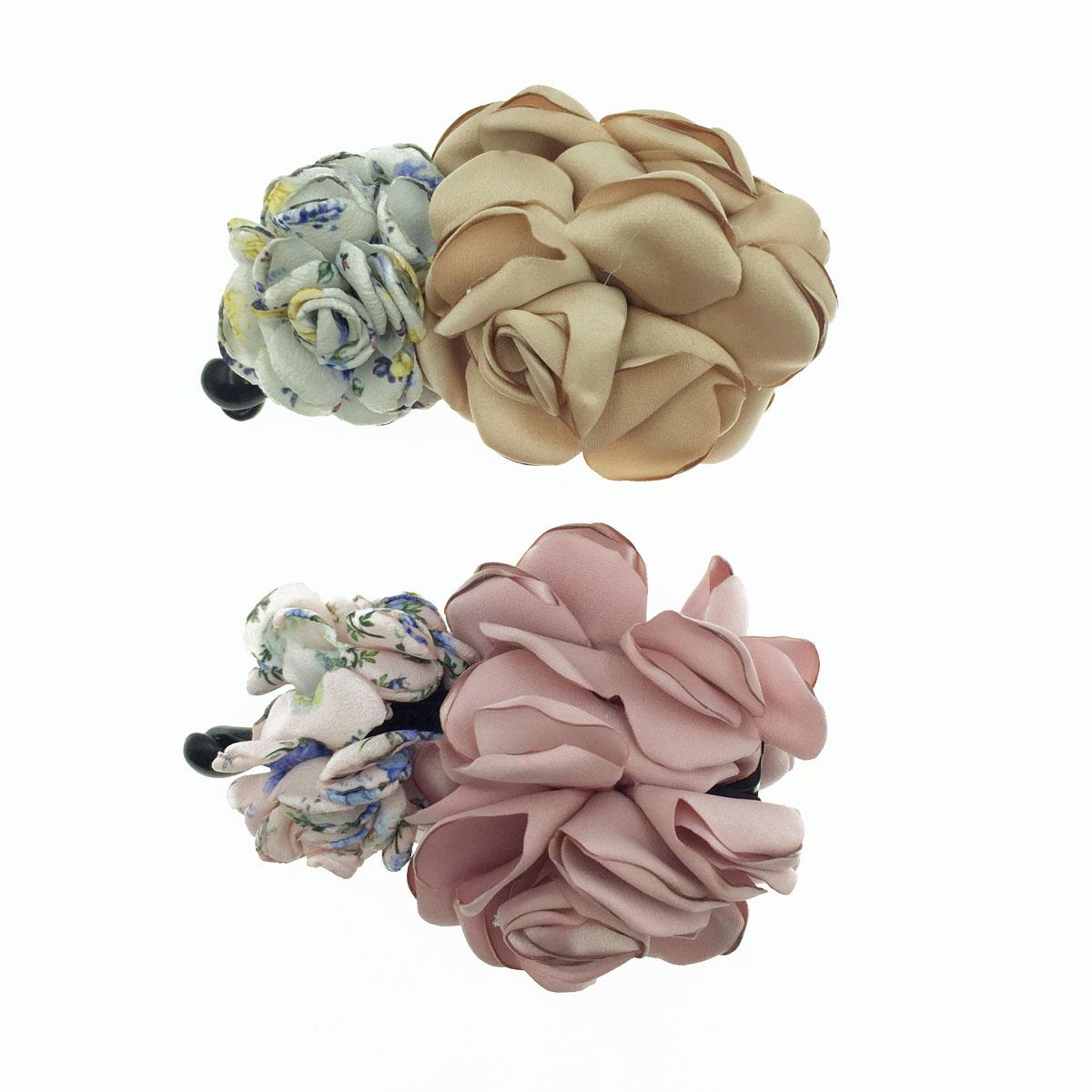 韓國 大小花朵 紋路 素色 撞色 2色 氣質風 髮飾 相交夾