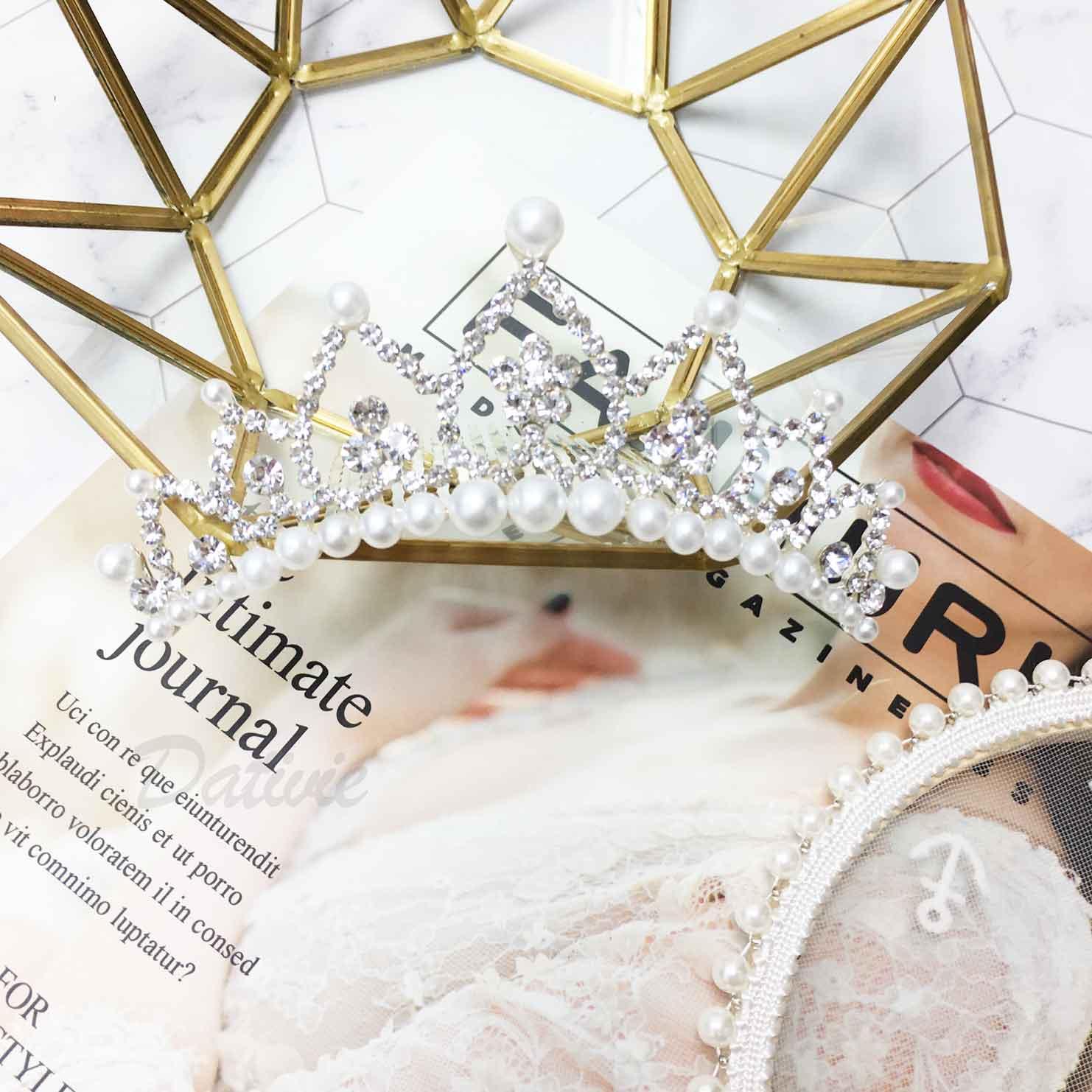 皇冠 水鑽 珍珠 氣質優雅 立冠 髮插 新娘飾品