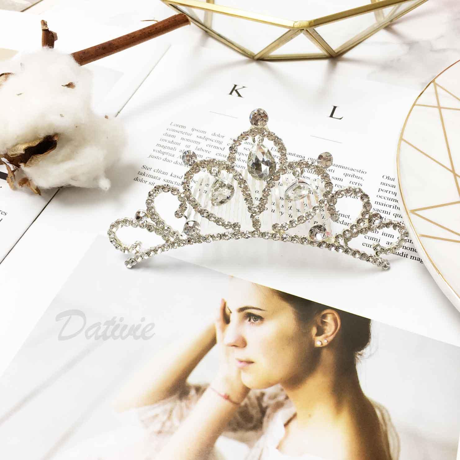 皇冠 垂墜水鑽 氣質高雅 立冠 髮插 新娘飾品