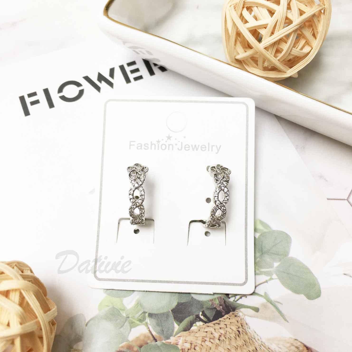 花水鑽 簍空 麻花造型 圓圈 圈圈 耳針式耳環