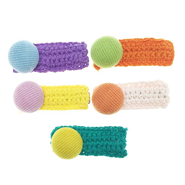 雙色 半圓 毛線 編織 可愛 五色 髮飾 髮夾 壓夾