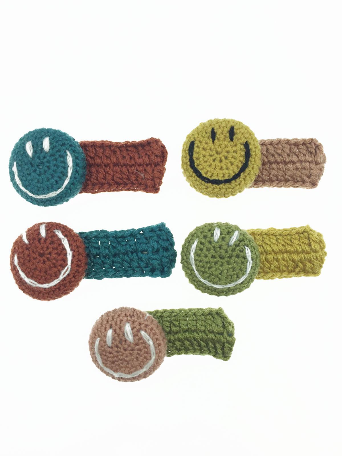 雙色 微笑 毛線 編織 可愛 五色 髮飾 髮夾 壓夾