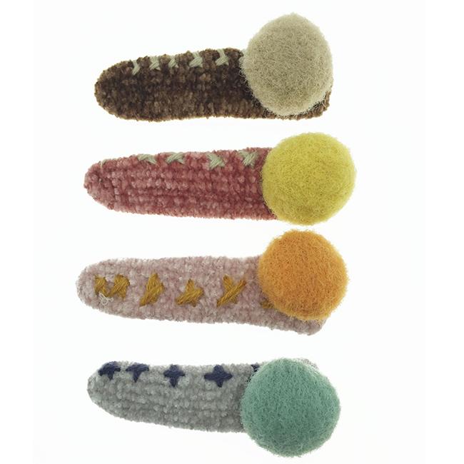 雙色 球球 邊邊X造型 毛毛線 可愛 四色 髮飾 髮夾 壓夾
