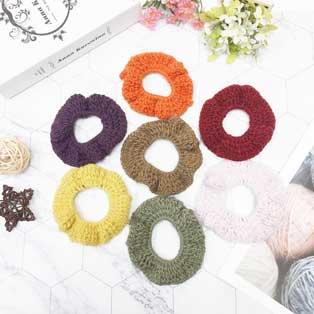 素色 毛線 編織 可愛 7色(隨機出貨不挑色) 2入 髮飾 髮束 壓圈