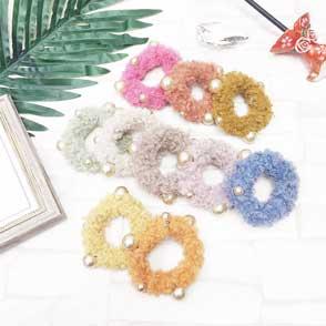 素色 QQ毛 金色珍珠 可愛 10色(隨機出貨不挑色) 3入 髮飾 髮束 壓圈