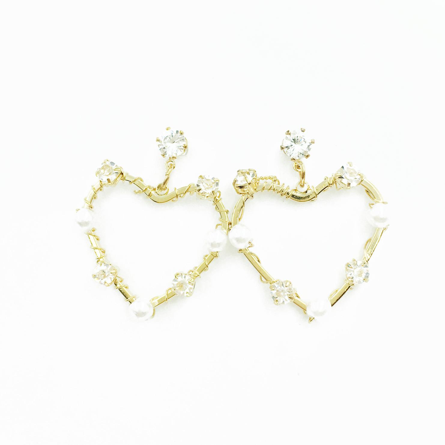 韓國 簍空愛心 水鑽 珍珠 甜美風 垂墜感 耳針式耳環