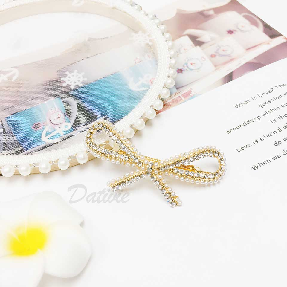 蝴蝶結 簍空 珍珠 水鑽 氣質甜美 髮飾 自動夾 髮夾