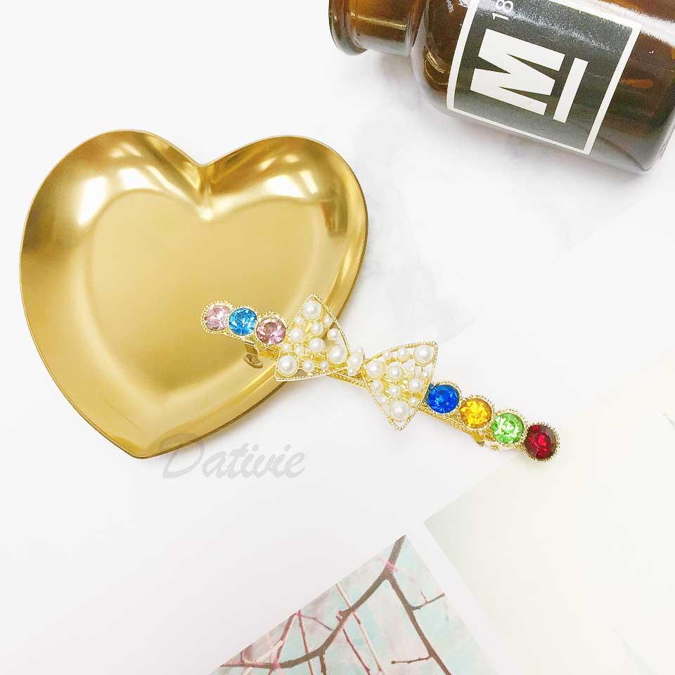 蝴蝶結 簍空 珍珠 水鑽 彩鑽 髮飾 自動夾 髮夾