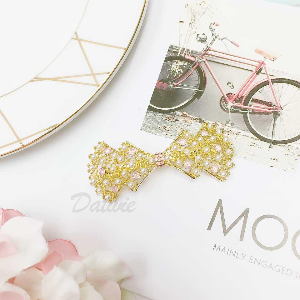 蝴蝶結 粉鑽 珍珠 氣質甜美 髮飾 自動夾 髮夾