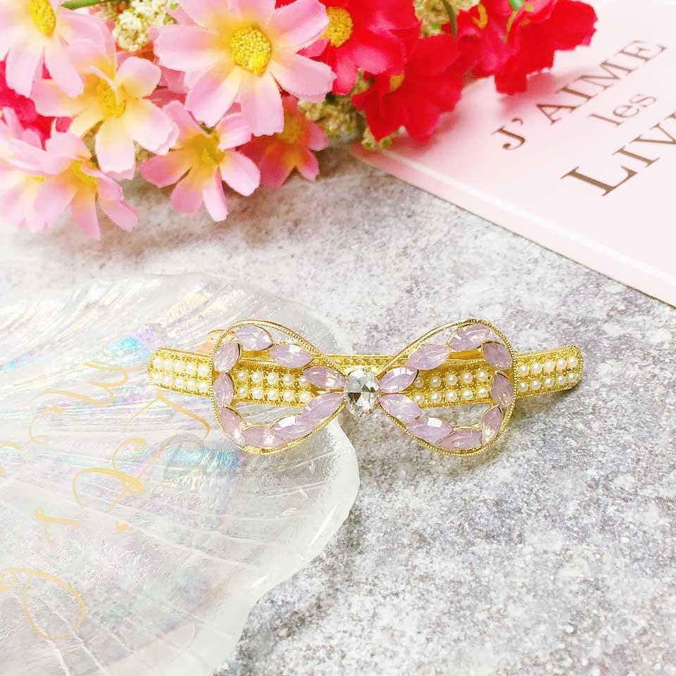 蝴蝶結 簍空 粉鑽 水鑽 珍珠 髮飾 自動夾 髮夾