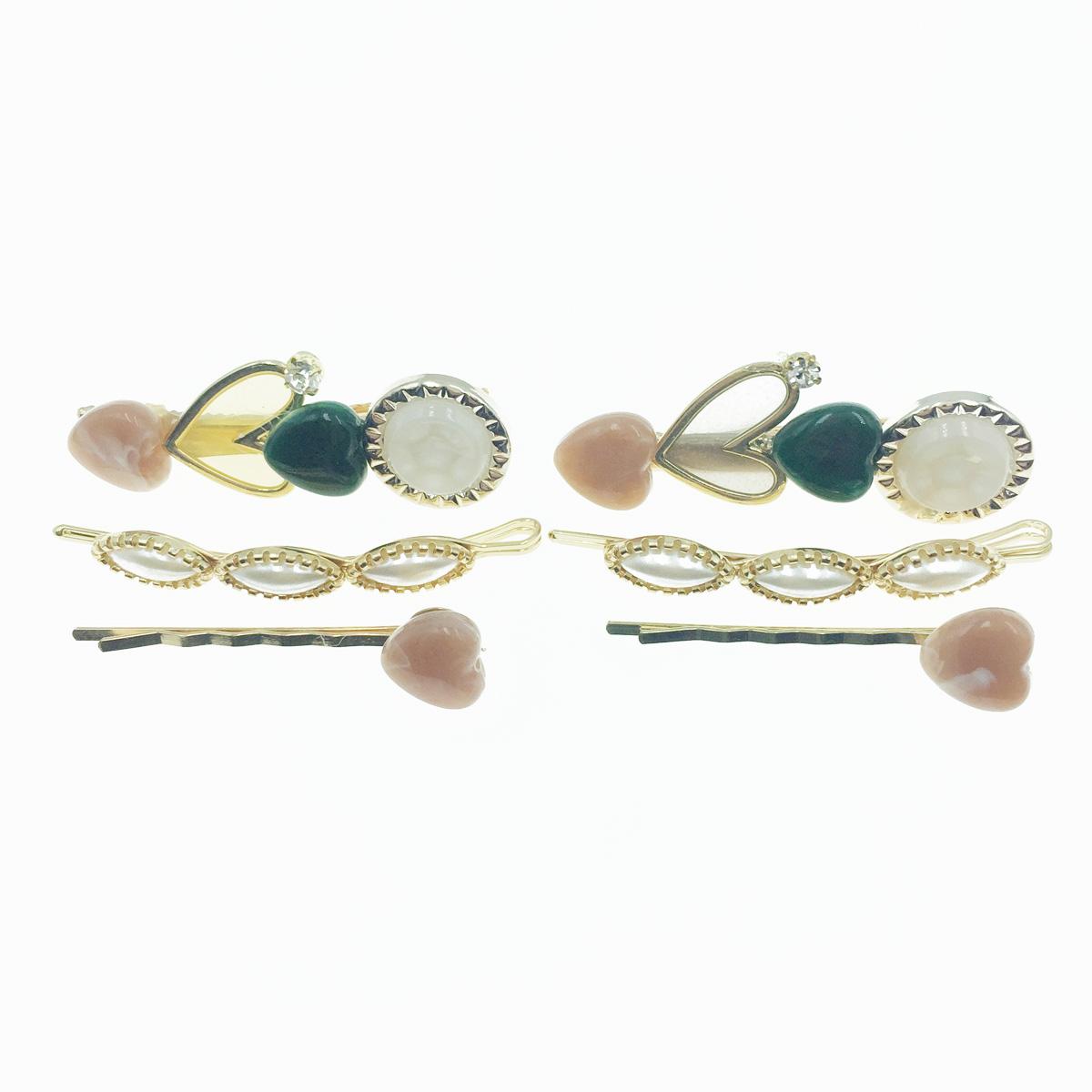 韓國 愛心 水鑽 寶石 3入組 兩款 髮飾 髮夾 線夾 壓夾