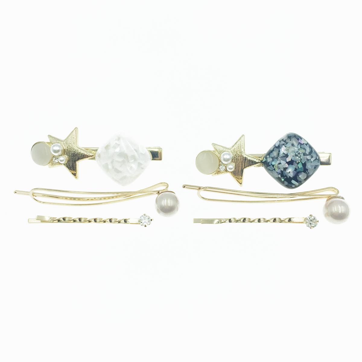 韓國 珍珠 星星 水鑽 寶石 3入組 兩色 髮飾 髮夾 線夾 壓夾