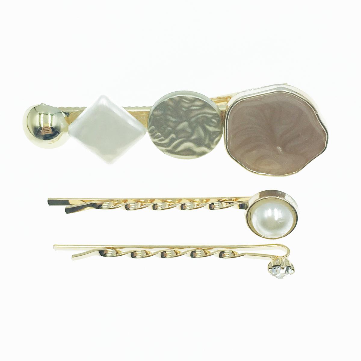 韓國 寶石造型 珍珠 水鑽 髮飾 髮夾 線夾 壓夾