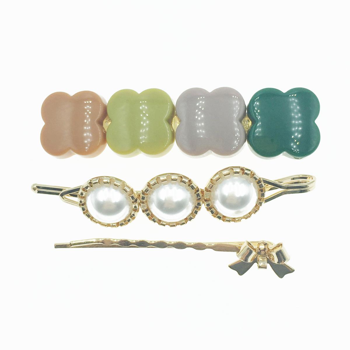 韓國 珍珠 蝴蝶結 3入組 髮飾 髮夾 線夾 壓夾
