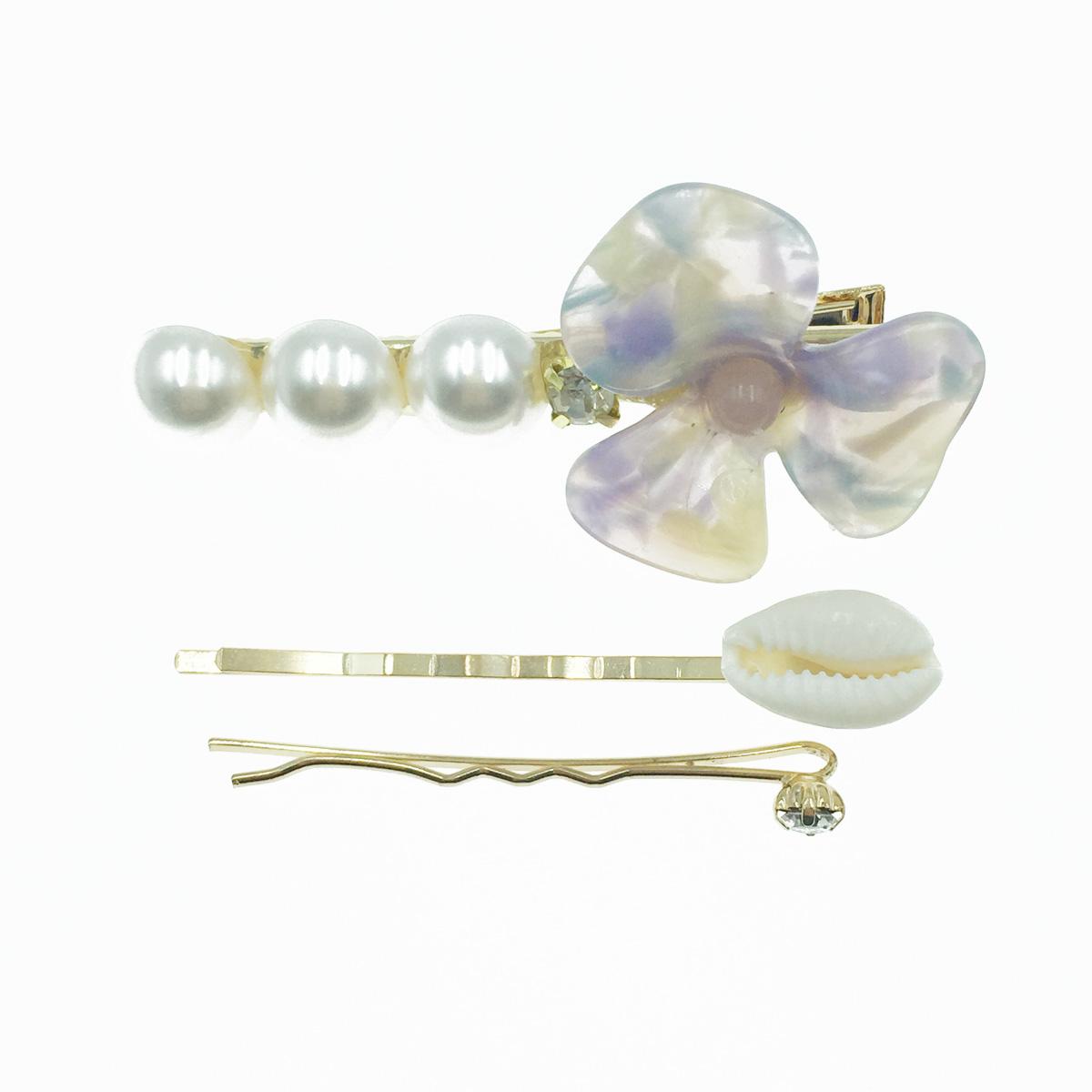 韓國 花 珍珠 水鑽 貝殼 3入組 髮飾 髮夾 線夾 壓夾