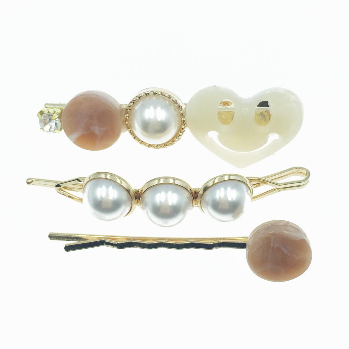 韓國 珍珠 水鑽 寶石 愛心 3入組 髮飾 髮夾 線夾 壓夾