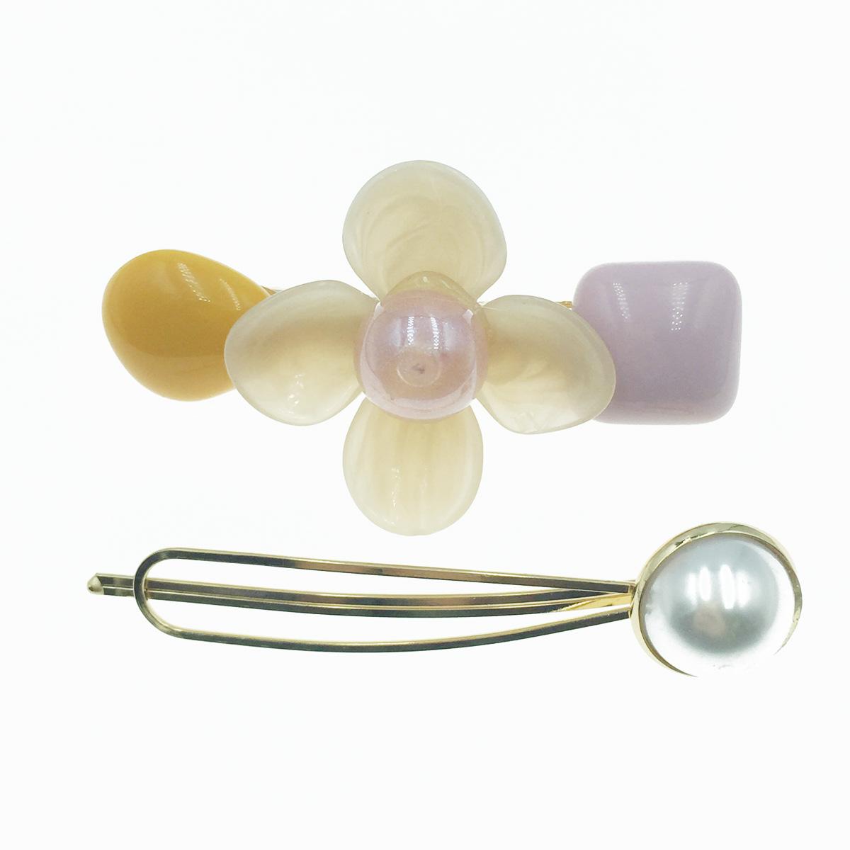 韓國 花 寶石 珍珠 2入組 髮飾 髮夾 線夾 壓夾