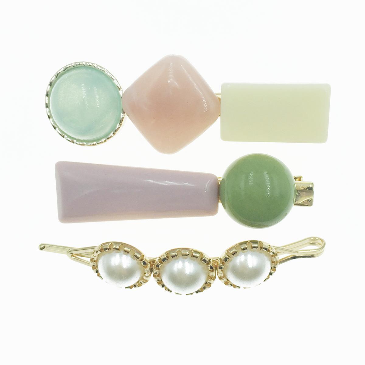 韓國 寶石 珍珠 3入組 髮飾 髮夾 線夾 壓夾