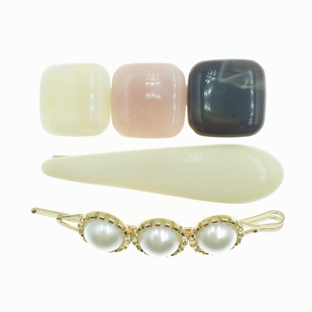 韓國 珍珠 寶石 3入組 髮飾 髮夾 線夾 壓夾