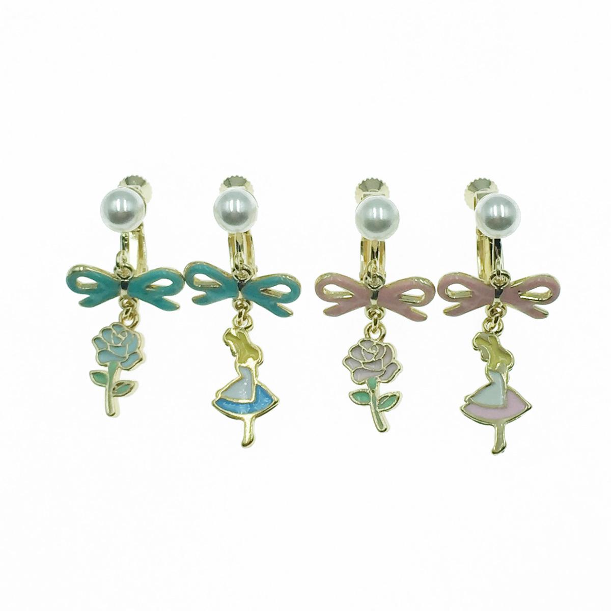 韓國 不對稱 珍珠 簍空蝴蝶結 花 愛麗絲 2色 垂墜感 夾式耳環