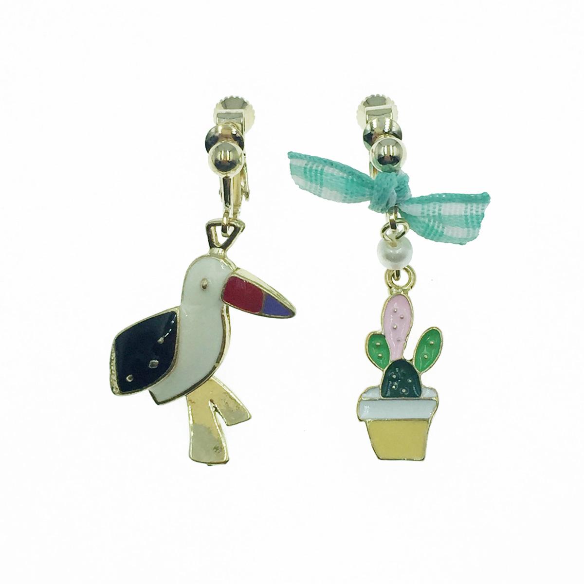韓國 鳥 仙人掌 蝴蝶結 珍珠 不對稱 垂墜感 夾式耳環