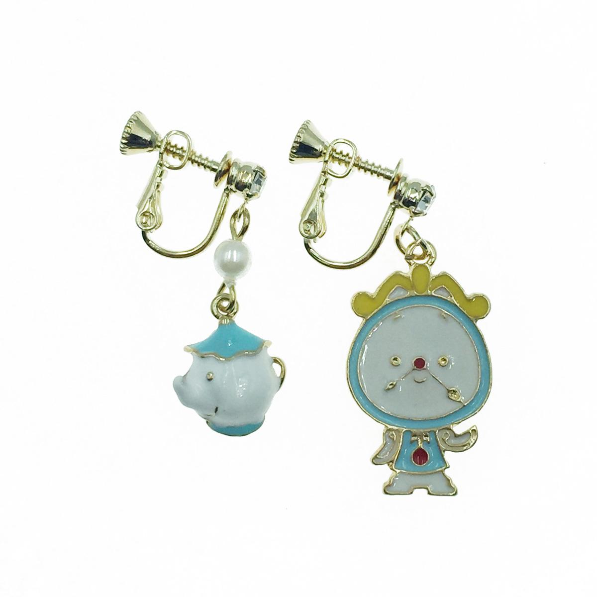 韓國 不對稱 美女與野獸 卡通角色 茶壺 時鐘 水鑽 珍珠 垂墜感 夾式耳環