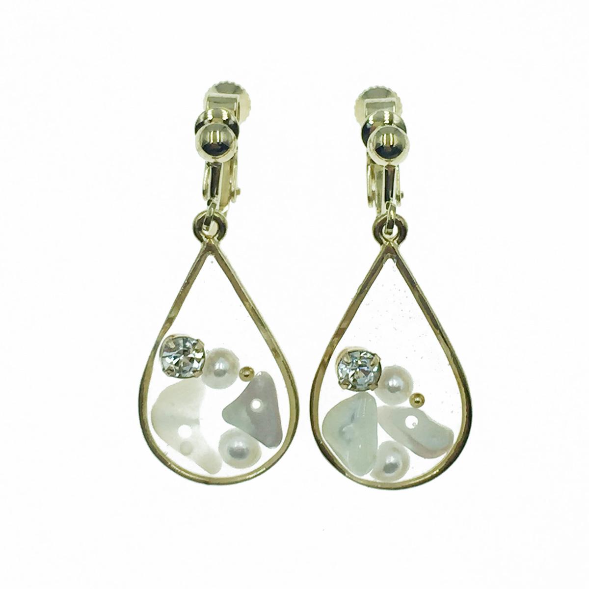 韓國 珍珠 水鑽 水滴 透明感 氣質 垂墜感 夾式耳環