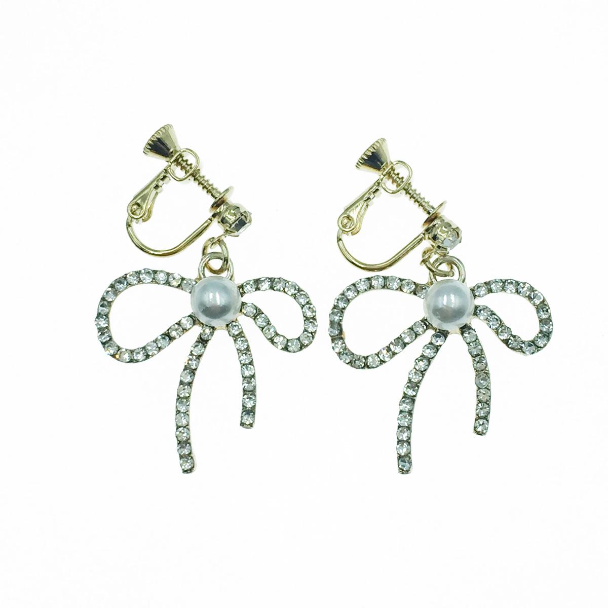 韓國 水鑽 蝴蝶結 簍空 珍珠 甜美款 垂墜感 夾式耳環
