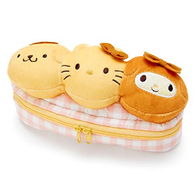 絨毛筆袋 日本 三麗鷗 麵包 鉛筆盒 布面 立體造型 日本正版授權進口