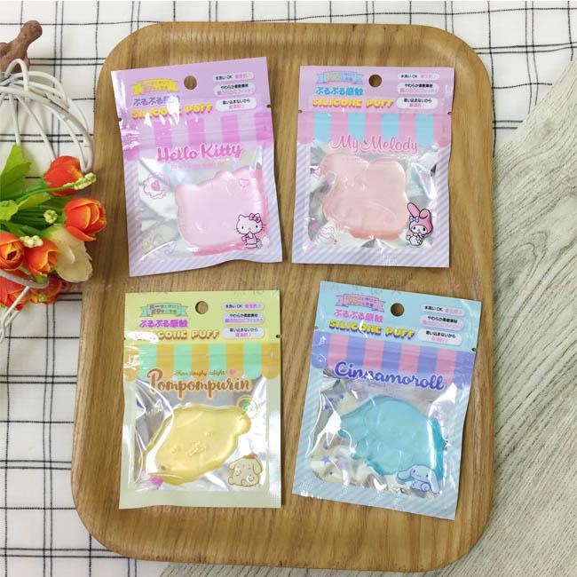 矽膠粉撲 日本 三麗鷗 Hello Kitty 凱蒂貓 美樂蒂 布丁狗 大耳狗 水洗 衛生 重複使用 日本正版進口授權