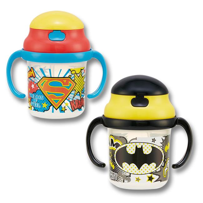 學習杯 漫威 超人 蝙蝠俠 插圖 繽紛 星星 點點 撞色 吸管 彈蓋式 水杯 正版日本進口授權