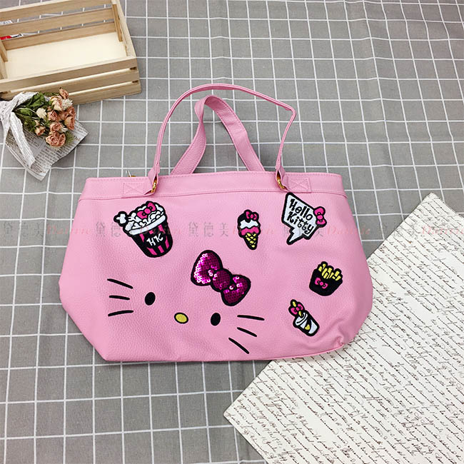 手提包 Hello Kitty 大臉 蝴蝶結 爆米花 冰淇淋 薯條 刺繡 亮片 皮質 提袋 包包 正版日本進口授權