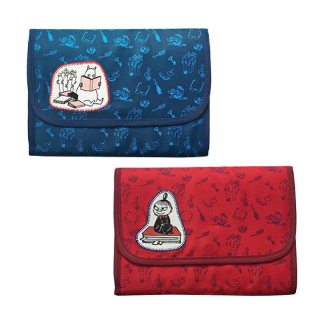 收納夾 嚕嚕咪 小不點 書本 滿版 藍 紅 用具 小物 收納 萬用包 正版日本進口授權
